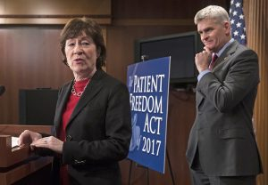 Sen. Susan Collins, R-Maine, and Sen. Bill Cassidy, R-La., hold a news conference on Capitol Hill Monday  to introduce the Patient Freedom Act of 2017, a possible Republican replacement bill for the Affordable Care Act.