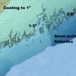 Coastal Maine will be brushed by an ocean storm Saturday