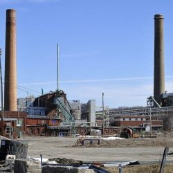 A nonprofit has bought the former holdings of Great Northern Paper in Millinocket, including the former mill site, shown here in 2011. The mill was dismantled and sold for scrap beginning in 2013.