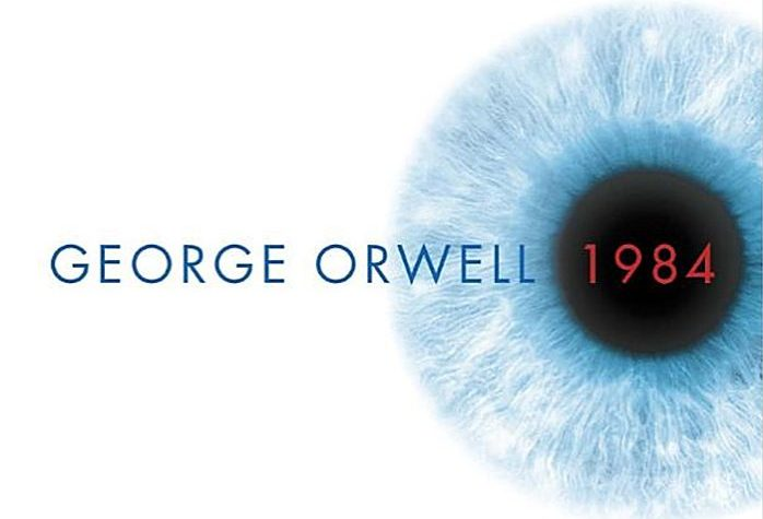 "Cover detail of the current edition of George Orwell's ""1984."""