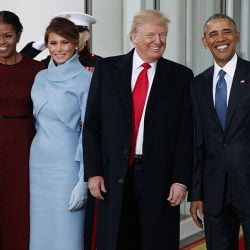 President Barack Obama, first lady Michelle Obama, President-elect Donald Trump and Melania Trump stand at the White House Friday morning.