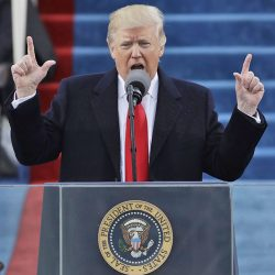 President Trump delivers his inaugural address after being sworn in as the 45th president of the United States on Friday.
