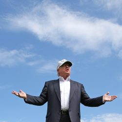 Then-presidential candidate Donald Trump speaks to the media on the golf course at his Trump International Golf Links in Aberdeen, Scotland on June 25, 2016.  Trump got the environmentally sensitive project approved in 2008 after promising to create jobs for local workers.