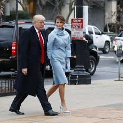 President-elect Donald Trump and his wife Melania arrive at St. John's Episcopal Church.