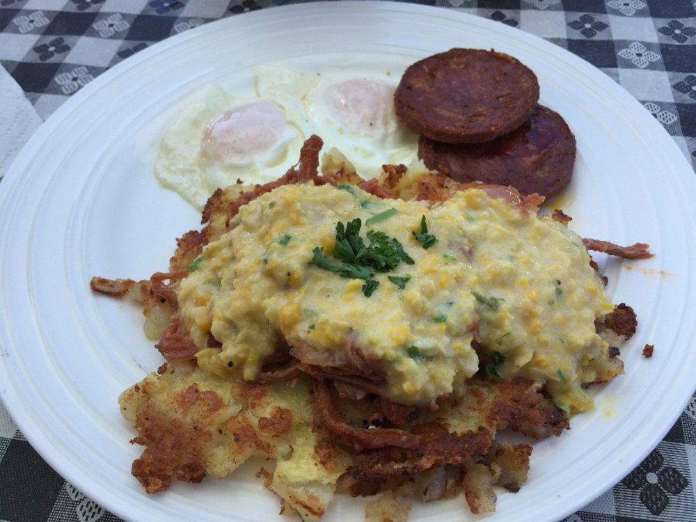 A cilantro creamed corn sauce in Puerto Rico may show up on eggs Benedict at Sinful Kitchen in Portland.