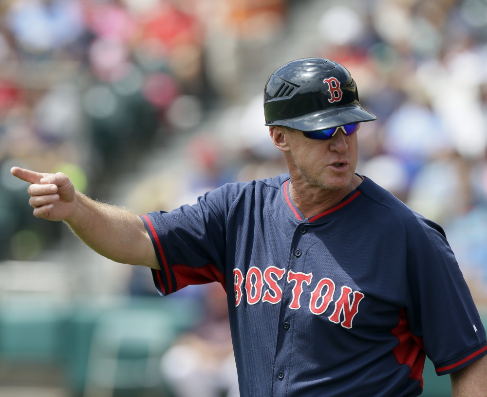 Red Sox third-base coach Brian Butterfield has gotten to know members of the Patriots' coaching staff by attending games and practices, and says he's learned a lot from their detail-oriented approach.