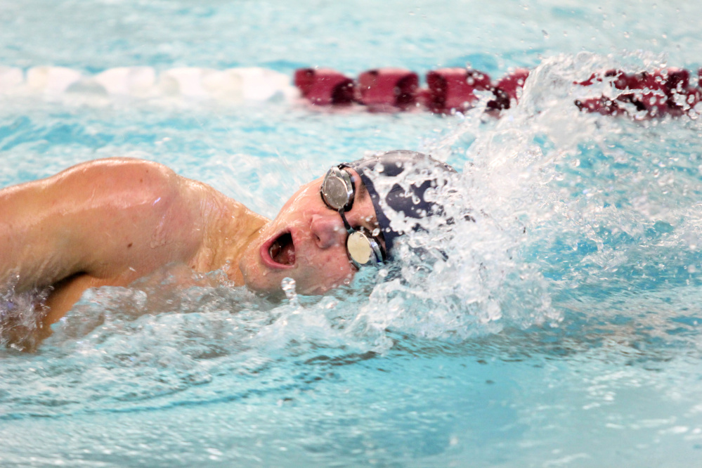 Lawrence's Zoli Nagy competes in the 100-yard freestyle at the Kennebec Valley Athletic Conference Class A meet Saturday in Bath.