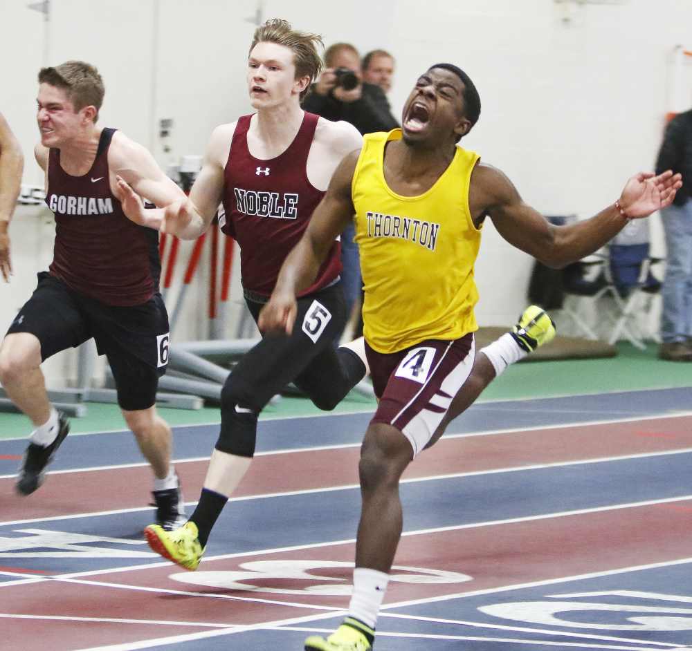 Jabari Washington of Thornton Academy finishes first in the 55-meter dash at the SMAA indoor track and field championships Saturday at the University of Southern Maine's Costello Sports Complex.