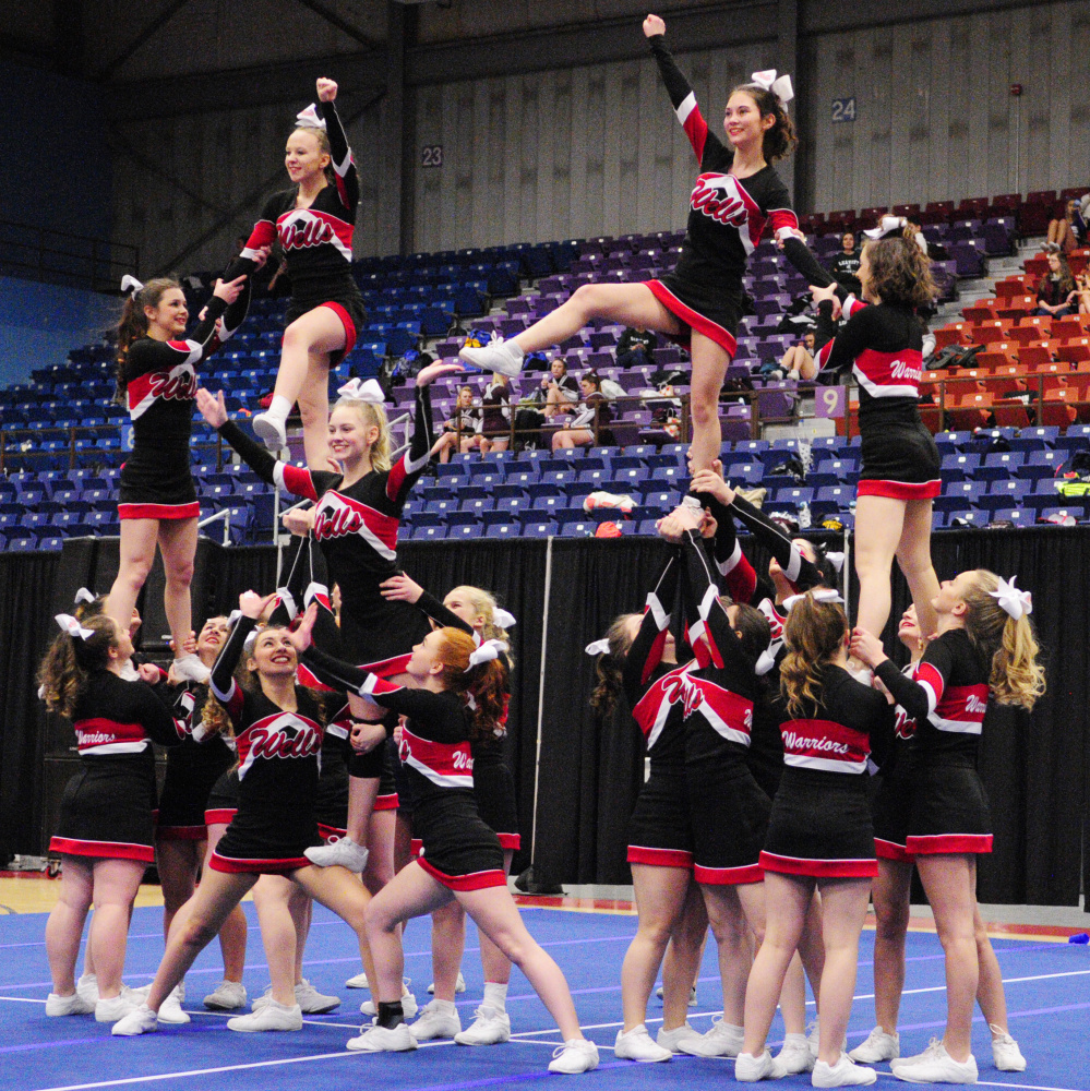 The Wells High cheerleading team followed up on its runner-up performance in the Class B South regional by placing sixth in the state championships Saturday afternoon at the Augusta Civic Center.