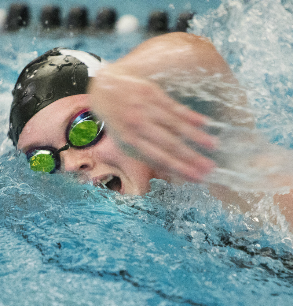 Kiera MacWhinnie of Waynflete heads to the state meet after winning the 100 freestyle and 100 backstroke in the South Southwesterns.