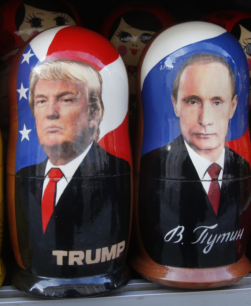 Traditional nesting dolls depicting Vladimir Putin and Donald Trump are seen for sale in St. Petersburg Russia. Trump's election is seen in Russia as a victory for the outsider and something to be celebrated