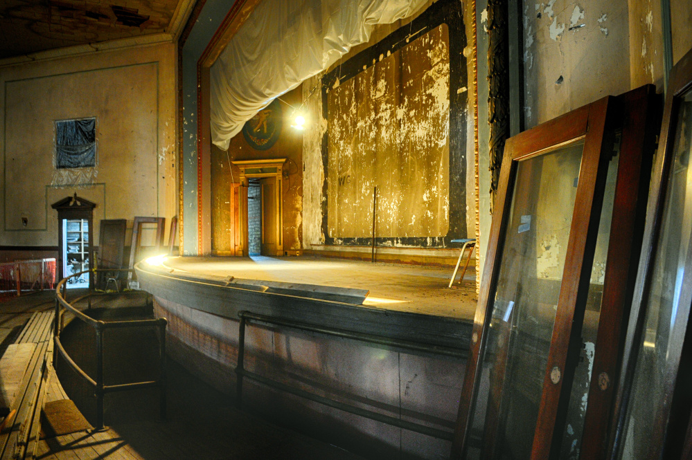 The stage at the Colonial Theatre, where supporters hope to breathe new life into the long-shuttered entertainment space.