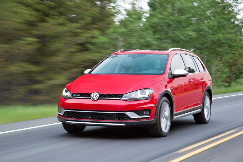 The 2017 Volkswagen Golf Alltrack has a 1.8-liter turbocharged four-cylinder engine rated at 170 horsepower and 199 pound-feet of torque.
