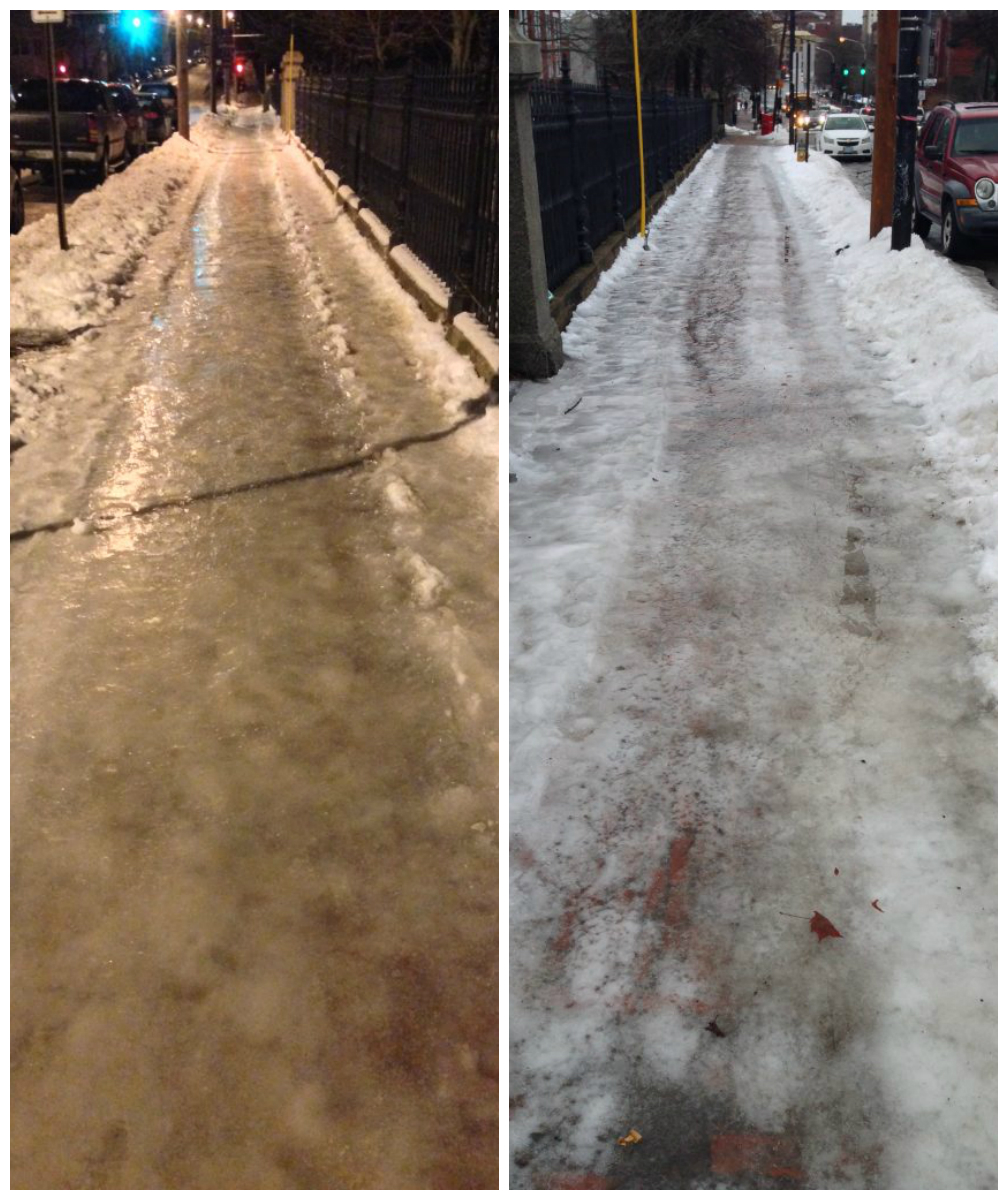 An impassable glaze of ice is still covering the Eastern Cemetery sidewalk on Congress Street on Jan. 3 (left) and Jan. 4 (right).