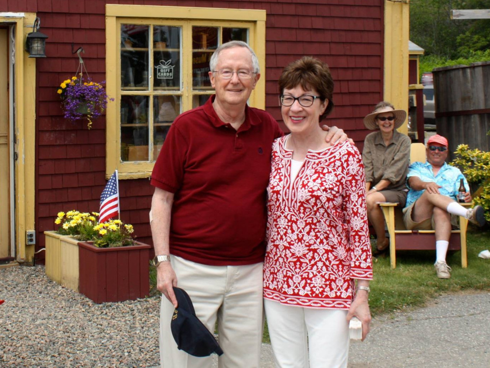 Sen. Susan Collins and her husband, Thomas Daffron, visit Raye's Mustard in Eastport. Her meatloaf, featuring dry mustard, is one of his favorite dishes of hers.