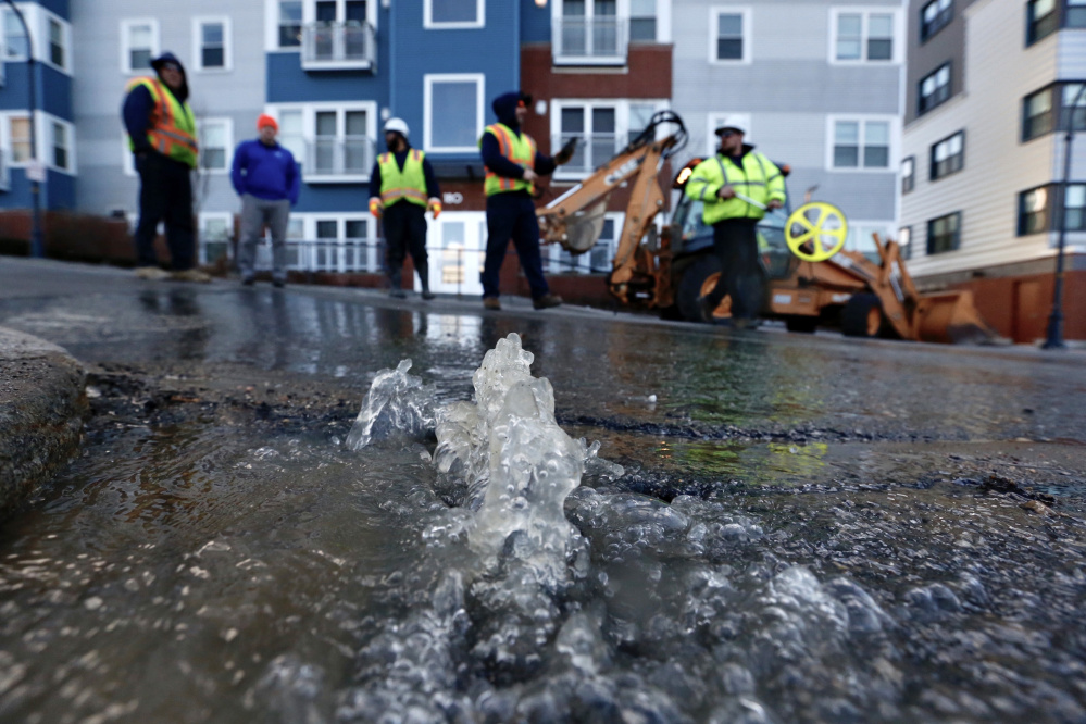 Part of Pearl Street in Portland was closed Friday evening because of this water main break.