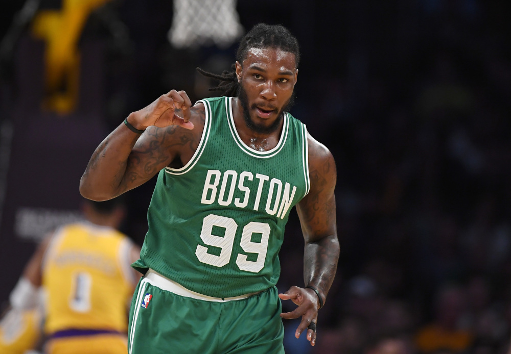 Celtics forward Jae Crowder gives a fist pump after hitting a 3-point shot in the first half. Boston took charge of the game by scoring 70 points in the first half.