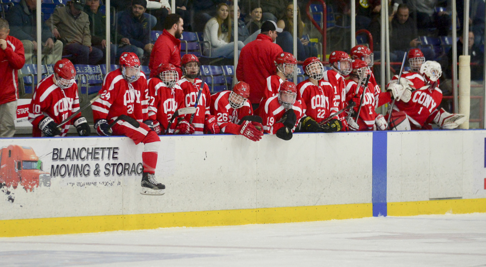 The Cony bench is subdued after a disappointing 2-1 loss to Bangor in the Class A North semifinals Saturday in Lewiston.