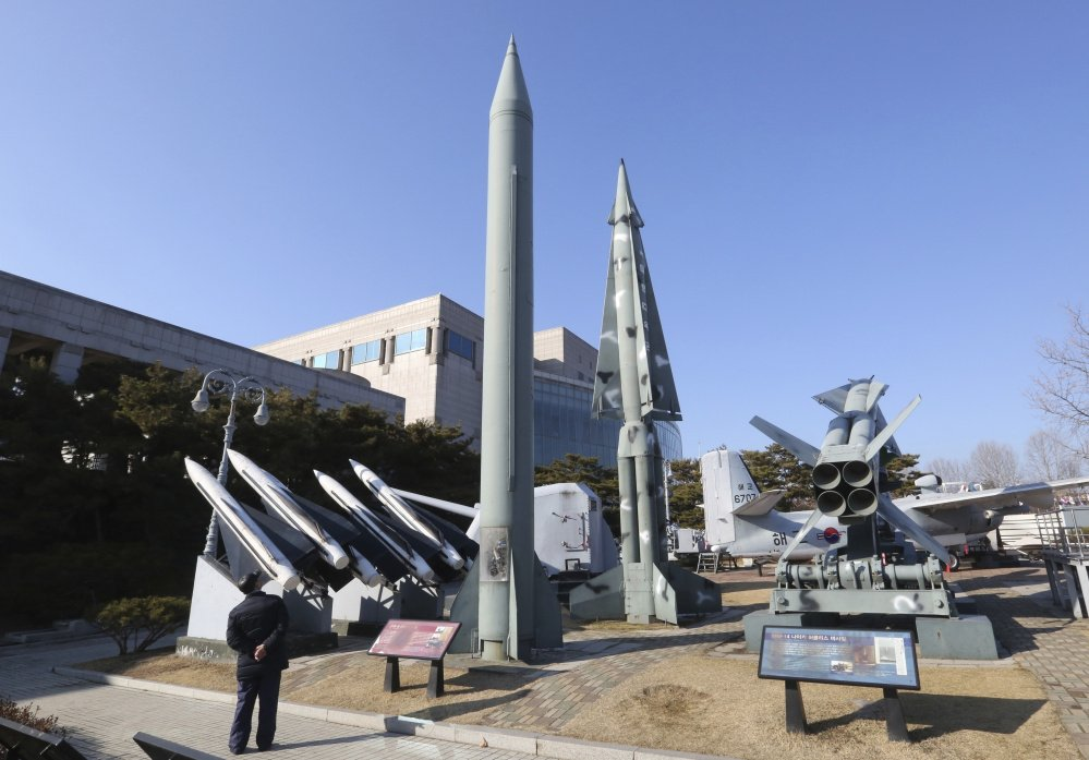 A mock North Korea's Scud-B missile, center left, and South Korean missiles are displayed at Korea War Memorial Museum in Seoul, South Korea. (Associated Press/Ahn Young-joon)