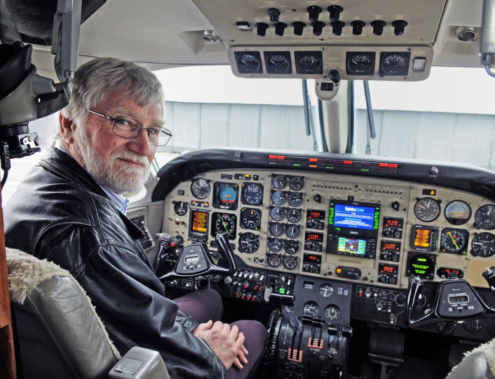 David Smith looks at home in a Beechcraft Sky King at Maine Instrument Flight in Augusta. Smith retired as chief pilot Dec. 31, but he still flies regularly. As a young man, he often went to the Augusta airport to watch the planes.