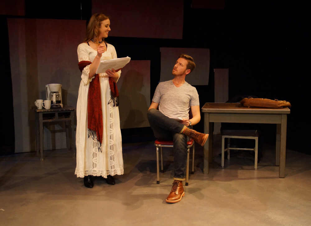 David Ives' work centers on the power struggle of an actress and a playwright played by Casey Turner and Joseph Bearor.