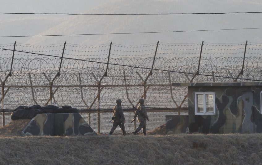 South Korean soldiers patrol in Paju, South Korea, near the border with North Korea, on Monday. U.S. missile launchers and other equipment needed to set up a controversial missile defense system have arrived in South Korea, the U.S. and South Korea said Tuesday.