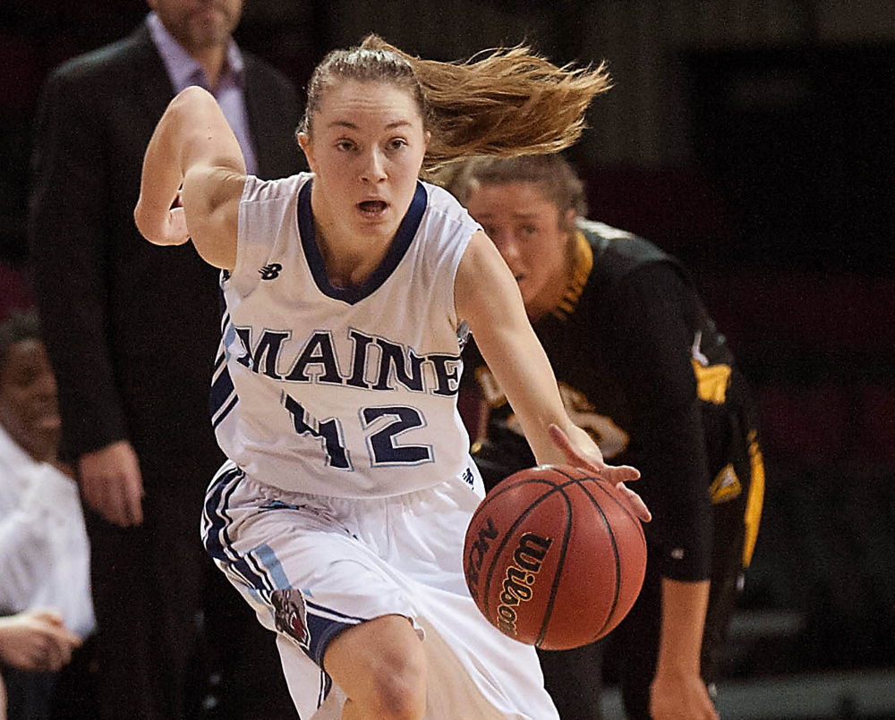 UMaine women's basketball player Sigi Koizar takes off up court after a steal in the  second half of the team's America East game against UMBC at the Cross Insurance Center in Bangor on Jan. 10. (Press Herald file)