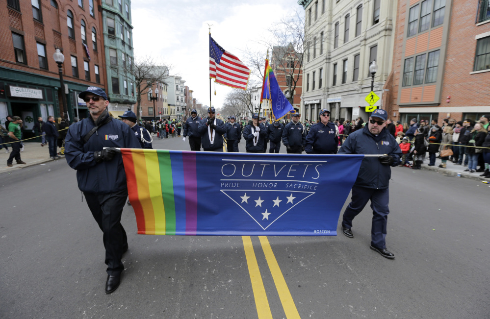 Members of OutVets, a group of gay military veterans, march in the 2016 St. Patrick's Day parade in Boston. Parade organizers reversed their decision to ban the group this year.