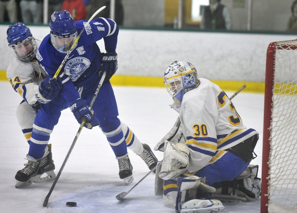 Jeromey Rancourt of Lewiston has hurt Falmouth before while stationed in front, and the Yachtsmen will be mindful of his presence Saturday night when the teams meet for the Class A state championship.