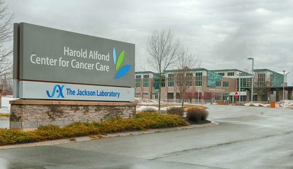 The Jackson Laboratory's name has been added to the sign at the Harold Alfond Center for Cancer Care in Augusta.