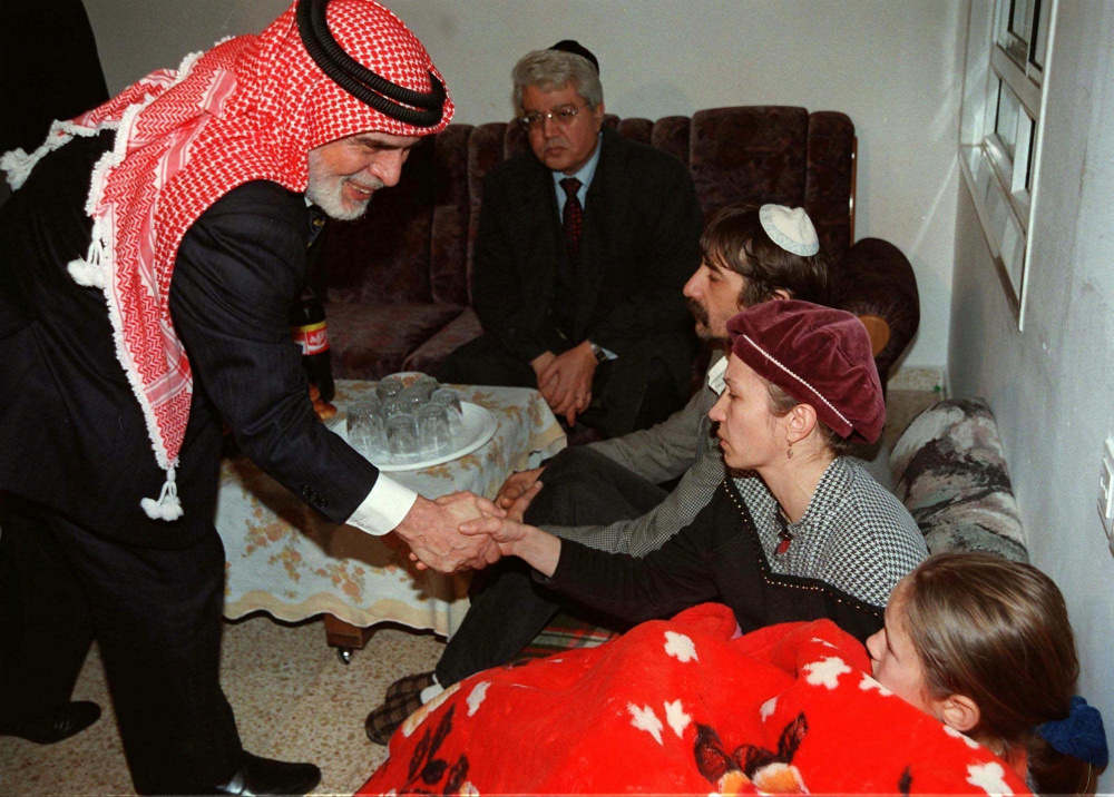 King Hussein of Jordan shakes the hands of members of the Badayev family in 1997 as they mourned after their daughter Shiri was killed by a Jordanian gunman. Hussein came to Israel to offer condolences to the seven families who had lost their daughters.