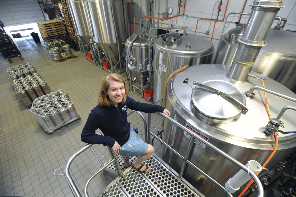 Rep. Heather Sanborn, a co-owner of Rising Tide Brewery, says a law change that allows breweries to transfer beer from one facility to another is key to her brewery's growth plan.