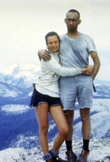 Liz and Royal Robbins pose at the summit of Half Dome in Yosemite after she became the world's first woman to climb it in 1967.