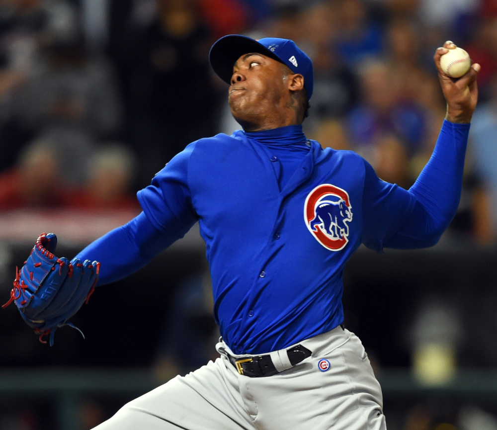 Aroldis Chapman has led the list of hard throwers out of the bullpen, reaching radar-gun readings of more than 105 mph and averaging more than 100 for the year.