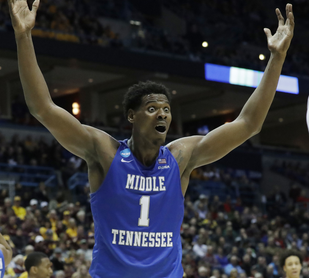 Brandon Walters of Middle Tennessee wasn't happy with a foul call, but you just know he was happy after the game as his team defeated Minnesota 81-72 in the first round and will play Butler next.
