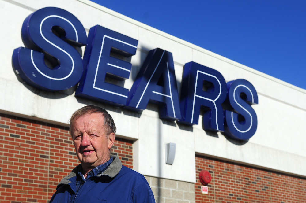 Former Sears employee Cal Brown stands in front of the Augusta store in the Turnpike Mall on Friday. He said that he'd worked for the company for more than 20 years and had started working there in 1967.