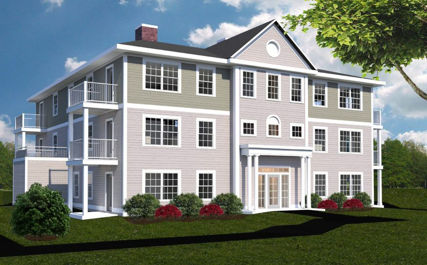 A rendering depicts a building planned for the scaled-down version of the Blue Spruce Farm development, Phase 2, on Spring Street in Westbrook.