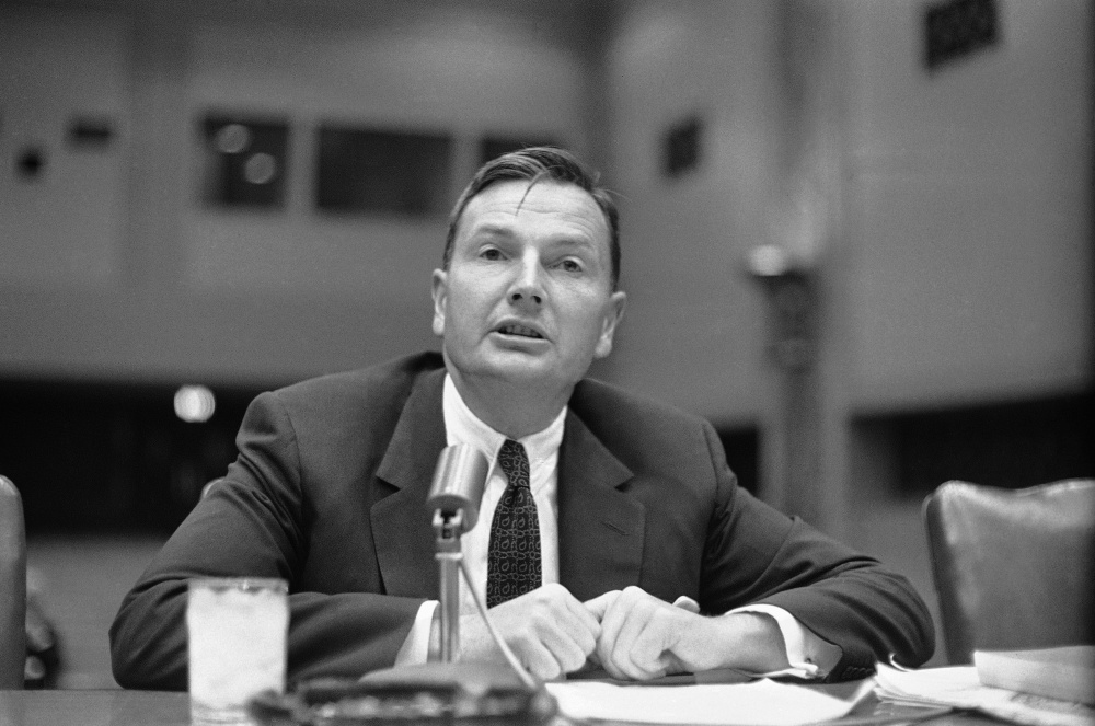 David Rockefeller, as president of Chase Manhattan Bank, appears before a congressional committee in 1961. He later played a role in getting the World Trade Center built.