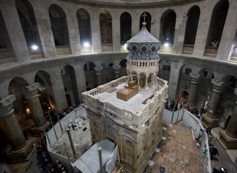 The renovated Edicule is seen in the Church of the Holy Sepulchre, traditionally believed to be the site of the burial of Jesus Christ, in Jerusalem's Old City on Monday.