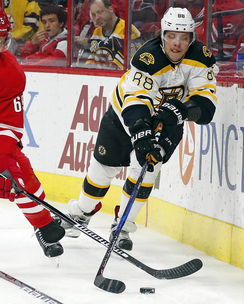 David Pastrnak of the Boston Bruins has gone two straight games without a point after scoring in 11 straight. Now the team wants him to get a goal – good goal, bad goal, it doesn't matter – before the pressure starts to build.