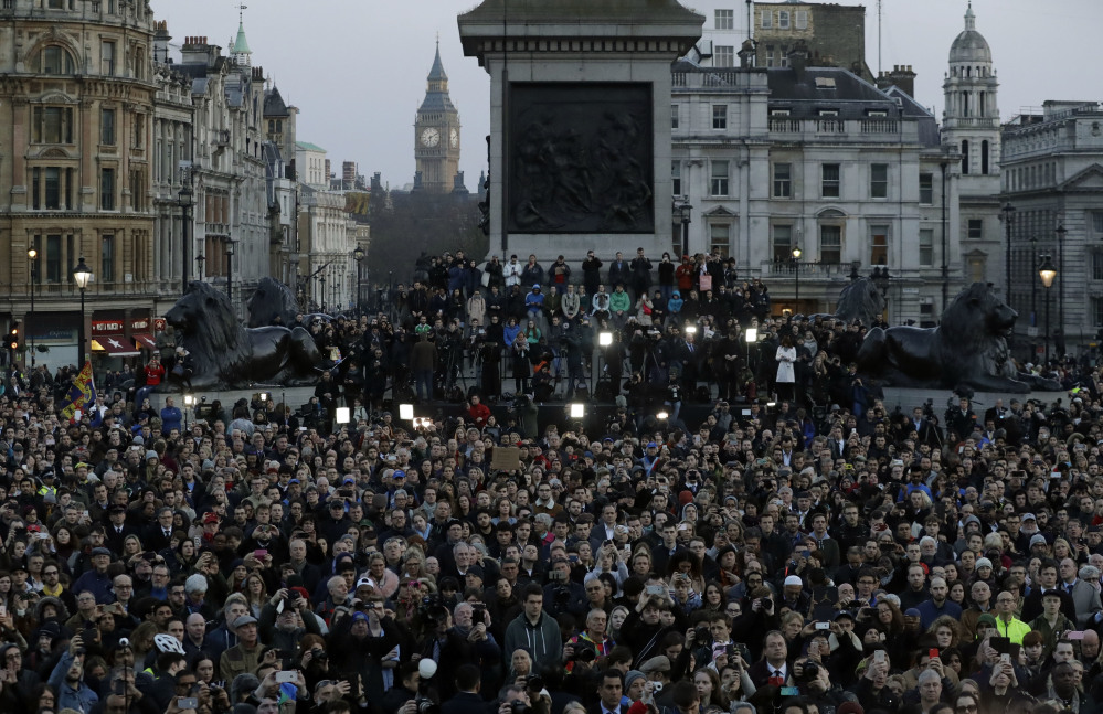 A crowd gathers Thursday at a vigil at Trafalgar Square in London for the victims of Wednesday's attack. Mayor Sadiq Khan called for Londoners to attend the vigil in solidarity with the victims and their families, and to show that London remains united.