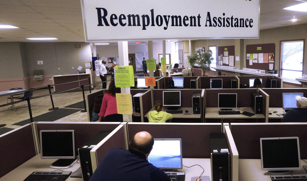The Illinois Department of Employment Security office in Springfield, Ill. The Labor Department reported on state jobless rates for February on Friday.