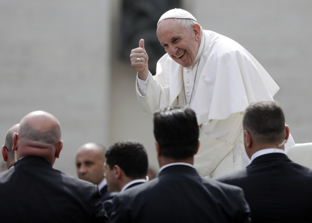 Pope Francis addresses leaders of 27 European nations on the eve of their summit to mark the 60th anniversary of the Treaty of Rome. The pope urged those leaders to resist false promises of security from populist and nativist candidates and leaders.