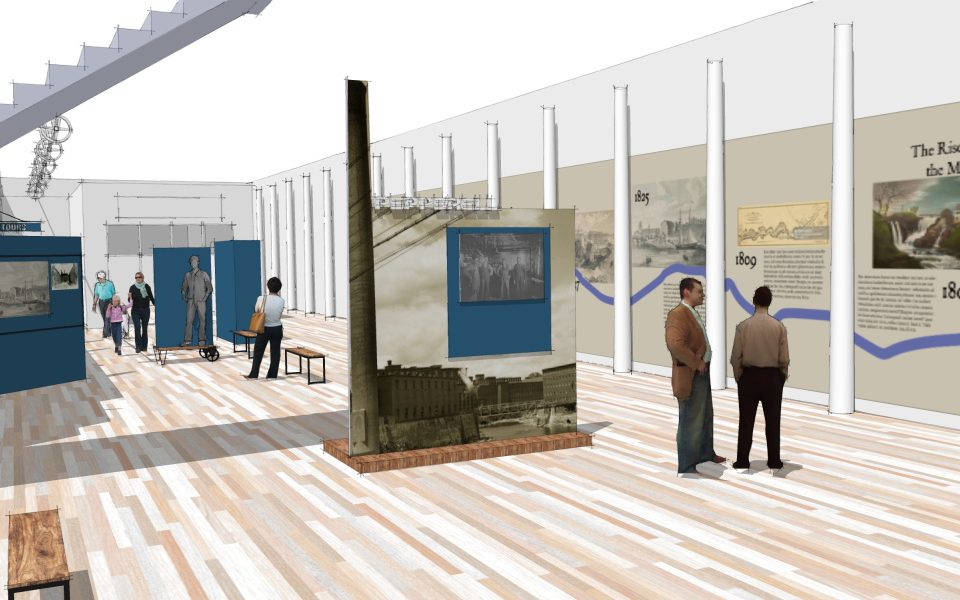 A rendering depicts the Biddeford Mills Museum to be installed at the Pepperell Mill Center. The museum will highlight the city's textile manufacturing history.
