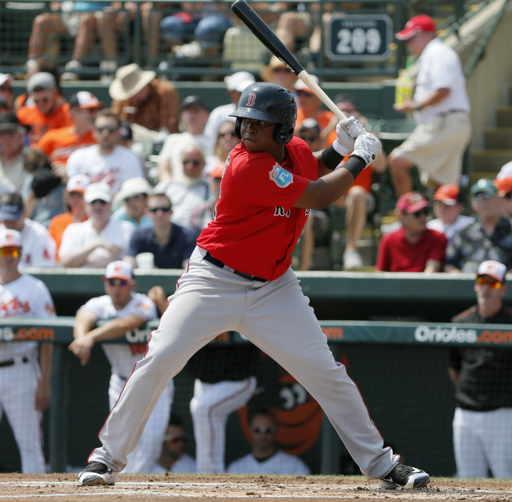 Rafael Devers is regarded as the top prospect for the Boston Red Sox, and he'll likely be moving on from Portland very soon.