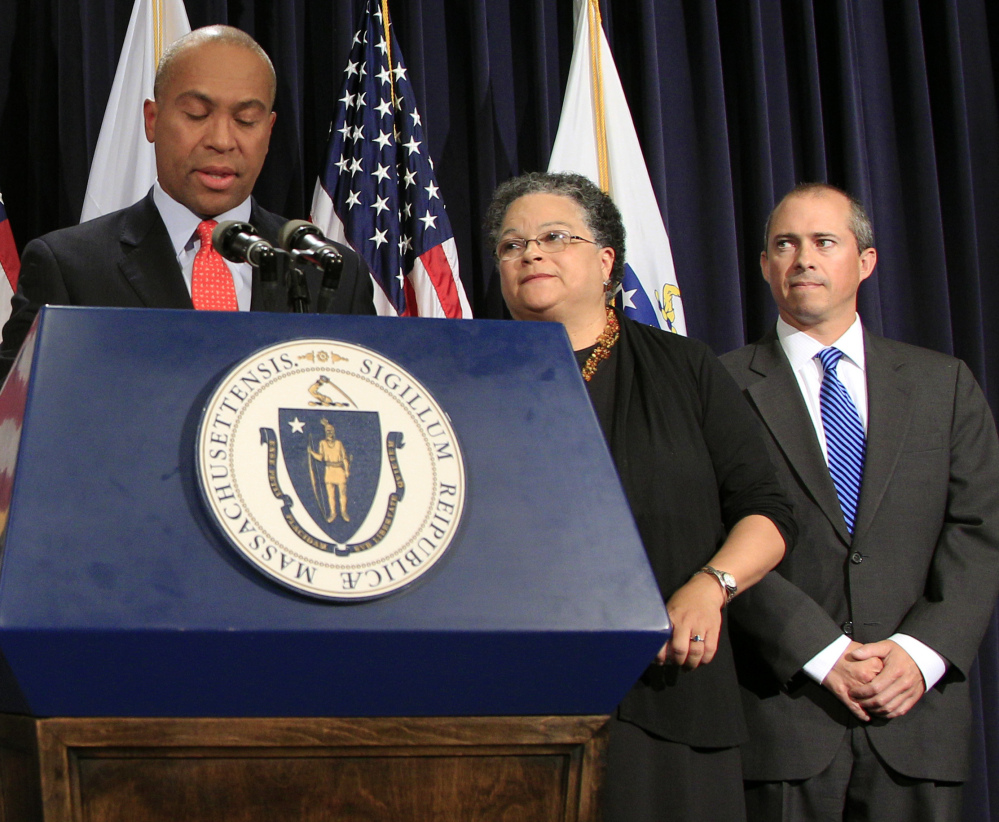 A member of former Massachusetts Gov. Deval Patrick's cabinet, Jay Gonzales, right, is the first major-party candidate to enter the 2018 governor race. Gonzalez faults Gov. Charlie Baker for underfunding key state programs and the