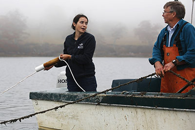 Seth Barker of Maine Fresh Sea Farms in Walpole holds a line while Sarah Redmond of Maine Sea Grant attaches a string of winged kelp to a line in Clark's Cove in 2015. President Trump's proposed federal budget would eliminate the Sea Grant program.
