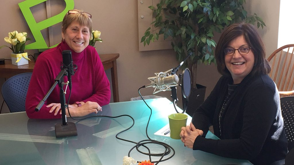 Meredith Strang Burgess, President and CEO of Burgess Advertising and Marketing and Portland Press Herald President and C.E.O Lisa DeSisto record an episode of the
