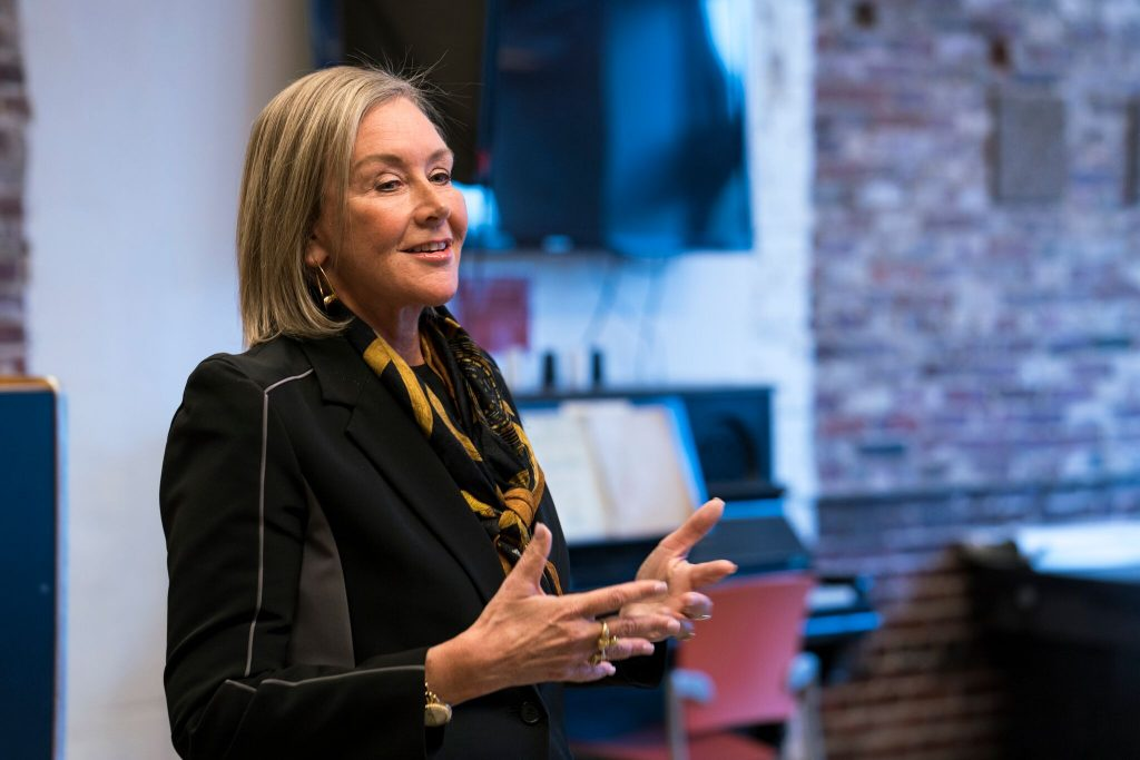 Laura Freid, Maine College of Art's new president, meets students for first time Saturday.