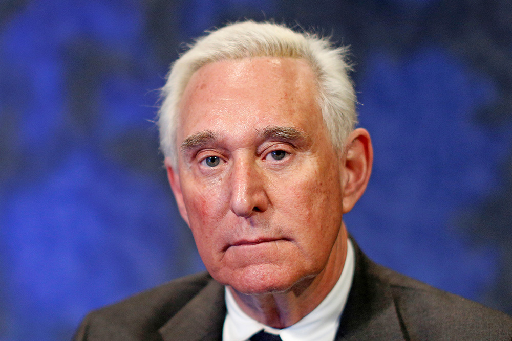 Political adviser Roger Stone, pictured here after a Feb. 28, 2017, interview in New York , says conversations he had with a suspected hacker allegedly linked to Russia were